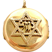 Rare antique English Victorian solid 15 k gold Jewish Star of David or Magen David locket, triple frame for 4 photos