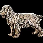 English art deco era sterling silver spaniel dog brooch by Kenart