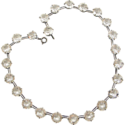 Art deco paste sterling silver riviere necklace