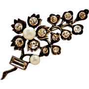 Edwardian sterling silver paste and cultured pearl flower brooch