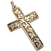 Antique Edwardian sterling silver cross 1908 hand engraved ivy leaves