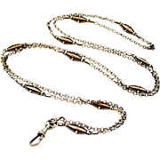 FRench antique 800-900 silver and rose gold vermeil guard chain for lorgnette or muff
