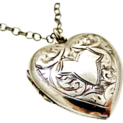 Antique Edwardian sterling silver heart locket engraved ivy