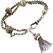 Antique French 900 silver Albertina bracelet with tassel