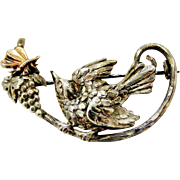 French antique 800-900 silver bird and butterfly brooch