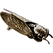 French art deco little silver plate cicada brooch
