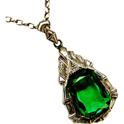 German 800-900 silver art deco emerald paste pendant on 18 inch sterling silver chain