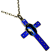 Beautiful French Limoges 800-900 silver and blue enamel cross virgin Mary