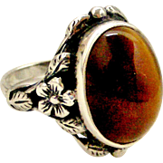 English sterling silver and tiger eye arts and crafts ring, wild rose