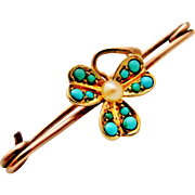 Antique 9k rose and yellow gold pin brooch, pave set turquoise shamrock with pearl