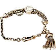 Antique sterling silver albertina bracelet with tassel