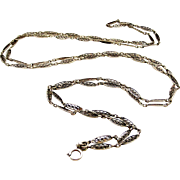 French antique 800-900 silver long guard muff chain with filigree links