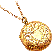 English 9k rose gold back and front hand engraved locket