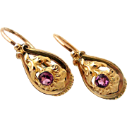 Pair French 18k gold fill antique dormeuse earrings with almandine paste stones