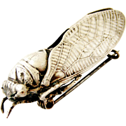 Fabulous large French antique silver plated cicada brooch with superb detail