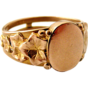 Antique French art nouveau rose gold filled signet ring by Oria with ivy leaf shoulder design