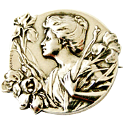 French antique art nouveau 800-900 silver brooch by Emile Dropsy, lady with irises