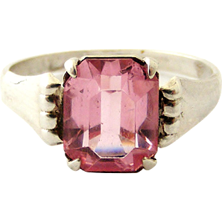 French art deco hallmarked silver and pink paste ring