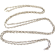 French antique 800-900 silver long guard muff chain with textured links