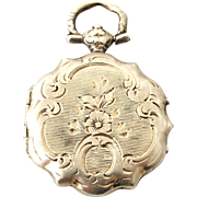 French antique silver hand engraved fob locket