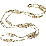 French antique 800-900 silver filigree chain 20 inches long