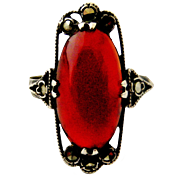 Art deco Swiss carnelian and higher than sterling silver marcasite ring