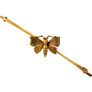 Delightful English 9k gold butterfly bar brooch