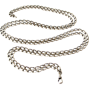 French antique heavy 800-900 silver long guard muff chain 60 inch