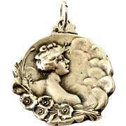 French antique art nouveau silver lady with poppies pendant dated 1900