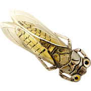 Large art deco French celluloid cicada brooch