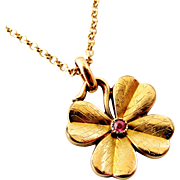 Antique French art nouveau FIX rose gold filled lucky clover pink ruby pendant and chain