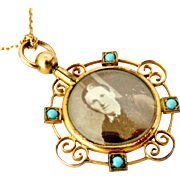 French antique gold filled and glass turquoise locket on 22 inch gold fill chain