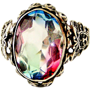 Vintage art deco Czech 835 silver filigree ring set with rainbow iris watermelon faceted paste stone