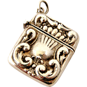 Art nouveau continental silver stamp case , locket or fob