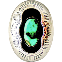 Vintage sterling silver Signed Tom Nez Navajo turquoise shadow box ring - Red Tag Sale Item