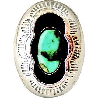 Vintage sterling silver Signed Tom Nez Navajo turquoise shadow box ring