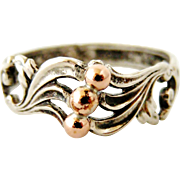 Antique French art nouveau 800-900 silver ring with rose gold