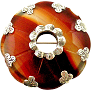 Victorian Scottish carnelian agate brooch hand engraved sterling silver