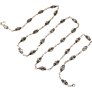 French antique 800-900 silver 29 inch long fancy chain with textured links