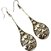 Huge arts and crafts style sterling silver interlaced leaf earrings