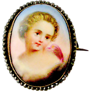 Antique French Limoges porcelain cherub brooch in cut steel mount - Red Tag Sale Item