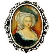 Vintage European 800 silver and miniature portrait brooch