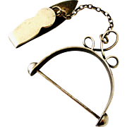Victorian English antique silver plated chatelaine hook with stirrup for keys