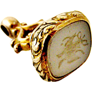 Antique carved intaglio seal fob two birds