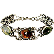Fabulous signed Zoltan White Arts and crafts sterling silver moss agate bracelet