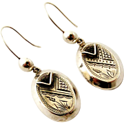 Sterling silver Victorian aesthetic movement hollow drop earrings, wonderful condition.