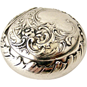 Antique art nouveau German 800 silver repousse pill box