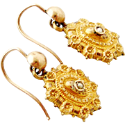 Victorian 15k gold Etruscan style earrings with seed pearls