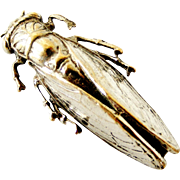 French vintage silver plated cicada brooch