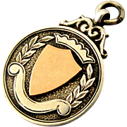 English art deco sterling silver and rose gold watch chain fob